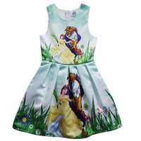 Wholesale Canvas Lines - Beauty and the beast girls dress Sleeveless dress in summer Beauty and the beast cartoon princess skirt