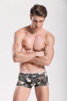 boxeadores del ejército para hombre al por mayor-2017 JQK Brand Mens Underwear Boxer Shorts con cremallera Sexo Gay erotic Army Green camuflaje Wild Sexy Fancy para hombre Underpants 335