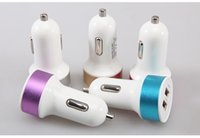 Wholesale Dual USB Car Charger mini Universal Adapter for samsung iphone s s Cell Phone PDA MP3 MP4 player and all smart phone