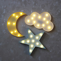 Wholesale Childrens Led Night Lights - LED Night Light for Baby Childrens Bedroom Decoration Cute Cloud Star Moon Shape 3D LED Night Lamp Kids Gift