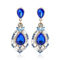 Stud blue diamond swarovski crystals - Earrings for Women Cheap Jewellery Diamond Swarovski Crystal Stud Wedding Accessories Fashion Rhinestone Bridal Earrings Green Blue Red