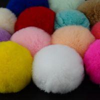 Wholesale Christmas Hairy - Lovely 8CM Rabbit Fur Ball Plush Keychain Round Ball Fluffy Toy Key Chain Hairy Car Keyring Bag Pendant Car Keychains Christmas Gifts