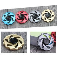 Wholesale Wholesale Fire - New Arrival Round Flywheel Aluminum Fidget Spinner Hand Spinner Tri Fidget Handspinner Fire Hot Wheel EDC For Decompression Finger toys