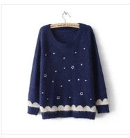 Wholesale Fresh Sweater - Wholesale-2016 new arrive winter sweaters fashion fresh wave edge embroidery pentagram mohair knit crew neck pulovers women sweater 434