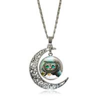 Wholesale Wonderland Necklace - Cheshire Cat Necklaces & Pendants Alice In Wonderland Glass Cabochon Crescent Moon Pendant Silver Chain Necklace Women Jewelry