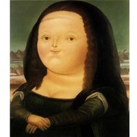 Wholesale Botero Hand Painted - Hand painted Fat Mona Lisa modern Art High Quality Fernando Botero canvas oil painting Living room hallway home decor Fine Art