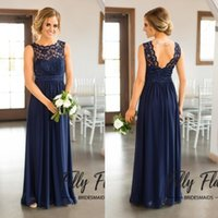 Wholesale Images For Chiffon Dresses - 2017 Navy Blue Lace Bridesmaid Dresses for Country Wedding A-Line Jewel Long Chiffon Bohemian Summer Beach Wedding Party Evening Dresses
