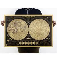 Wholesale large world poster - 2017 Vintage Poster Globe World Map Moon lunar Poster Map Wall Sticker Wallpaper Art Posters Vintage Retro Paper 5pcs lot