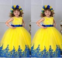 vintage blume chiffon röcke großhandel-Gelb Vintage Mädchen Festzug Kleider Rock Applique Ballkleid Mädchen Festzug Kleider Sleeveless Nach Maß Günstige Blumenmädchenkleider