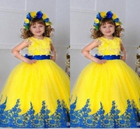 Wholesale Chiffon Pageant Dresses Girls - Yellow Vintage Girls Pageant Dresses Skirt Applique Ball Gown Girls Pageant Gowns Sleeveless Custom Made Cheap Flower Girl Dresses