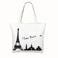 Wholesale Wholesale House Interiors - Mint Canvas Tower House Pattern Shopping Shoulder Bags Women Handbag Beach
