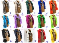 Wholesale Colors Tie Necklace - New Tassels Alloy Pendant Necklace Scarf Fashion Round Glass Charm Scarf Women Shawls Mix Colors LD