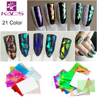 Wholesale Diy Foil Art - Wholesale-21 Colors set 3D Holographic Broken Glass Foils Finger Nail Art Mirror Stickers Glitter Stencil Decal DIY Manicure Design Tools