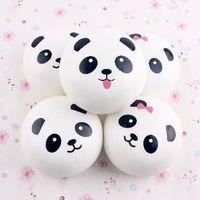 Wholesale panda keychains - Cute Panda Elastic PU Jumbo 10CM Colossal Squishy Cream Scented Slow Rising Mobile Phones Straps Bag Pendant CCA7049 50pcs