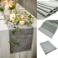 Wholesale Rustic Tablecloths - 30x275cm Gray Burlap Table Runner Natural Jute Imitated Linen Rustic Decor Wedding Hessian Tablecloth Party-L1
