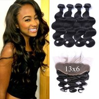 Wholesale chinese virgin hair 4pcs resale online - 13x6 Full Lace Frontal Closure And Hair Bundles Virgin Brazilian Body Wave Human Hair With Frontal