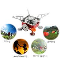 Wholesale New W Stainless Steel Gas Stove Portable Collapsible Outdoor Backpacking Butane Gas Camping Picnic Stove Burner