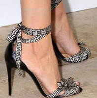 Wholesale Wedding Style Sandals - Rome style ankle wrap letter strap lace up high heel sandals size 35 to 40