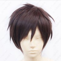Wholesale Attack Titan Wigs - Free shipping New High Quality Fashion Picture wig >>hot ! Attack on Titan Eren Jaeger Short Dark Brown Cosplay Wig Free shipping