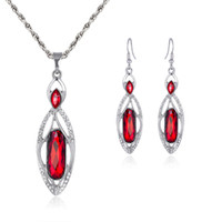 Wholesale Bridesmaid Jewelry Sets Blue - Blue Red Crystal Necklace Earrings Jewelry Sets Silver Chain Necklaces Bride Bridesmaid Wedding Jewelry Gift 162184