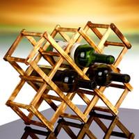raf katlama toptan satış-Şarap Rafı Katı Çam Ahşap Raf Yaratıcı Katlanır Ahşap Kırmızı Şaraplar Rafları 10 Şişe Dağı Mutfak Tutucu Süsler 14yh F R