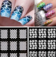 Wholesale Wholesale Vinyl Stencils - Fish Scale Rose Nail Art Stencil Guild Stamping Guild Cut Out Nail Art Template 10 patterns Nail Art Stencil Vinyl Decal Stickers