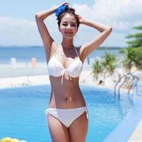 Wholesale Korean Sexy Woman Bikini - Summer Beauty Korean Style Low Waist Women Bikini Sets Push Up Halter Sexy Women's Swimwear Free Shipping