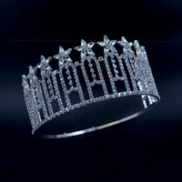 Wholesale Beauty Crowns - Pageant Crown Stars Miss Beauty Contest High Quanlity Rhinestone Tiaras Bridal Wedding Hair Accessories Adjustable Headband mo230