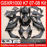 Wholesale Suzuki Gsxr K7 - 8 Gifts 23 Colors Bodywork For SUZUKI GSXR1000 2007 2008 K7 gloss black 13HM28 GSXR-1000 07 08 GSX-R1000 GSXR 1000 07 08 Fairing Kit Body