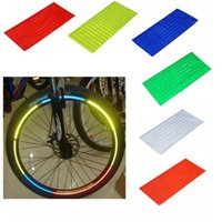Wholesale Cycling Stickers - Fluorescent MTB Bike Bicycle Cycling Motorcycle Wheel Tire Tyre Reflective Stickers Strip Decal Tape Safety Silver