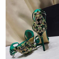 Wholesale Green Crystal Pumps - New Fashion 2017 green black Silk Women Crystal Wedding Shoes High Heel Pumps Formal Bridal Shoes For Wedding Party Prom Eevening