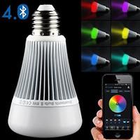 spot led lampe 8w großhandel-Multifunktions-MI-Licht Bluetooth Birne E27 85 ~ 265V 8W intelligente geführte Lampe RGB weißes / kühles weißes / warmes weißes LED Scheinwerferlicht