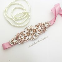 Wholesale Sew Applique Beads - 30PIECES Handmade Rhinestones Appliques Sewing On Wedding Dresses Belt Sashes Rose Gold Protein Beads DIY Bridal Accessory
