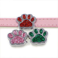 Wholesale Dog Collars Paws - 50pcs new arrival dog paw 8mm Slider Charms Fit 8mm Pet Collar DIY Necklace & Bracelet keychains Jewelry Findings