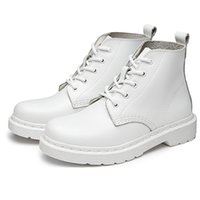 X23 White Retro estilo britânico Leather Brogues Oxfords Short Boot Mulheres Sapatos Round Toe Casual Lady Boots Genuine Leather Martin Men Boots