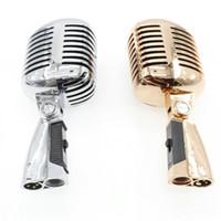 estilos de micrófono al por mayor-Discurso vocal profesional de estilo antiguo Micrófono con cable clásico vintage Micrófono dinámico retro Mike Microfone
