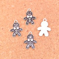 Wholesale Fashion Cookies - Wholesale 120pcs Fashion Antique silver gingerbread man cookies christmas charms metal pendants for diy jewelry findings 18*12mm