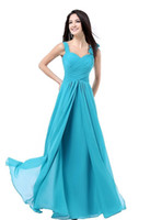 Wholesale Turquoise Coral Prom Dress - Women' A Line Floor Length Chiffon Prom Dresses Formal Party Long Bridesmaid Dresses Turquoise Burgundy Pink Blue Purple Red
