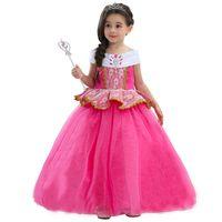 Wholesale New Sleeping Beauty - New Children Aurora Princess Dresses Girls 6Layer Gauze Sleeping Beauty Party Pink Dress XMAS Cosplay Costume Halloween Clothing HH-A06