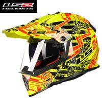 ls2 kapalı yol kaskları toptan satış-Casque kasko capacetes LS2 MX436 motosiklet kask atv kir bisiklet çapraz motocross kask çift lens off road yarış moto kaskları