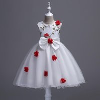 Wholesale Wool Childrens Clothes - 2017 Baby Girls Tulle Lace Dresses Girl 3D Floral Wedding Party Dress Kids Girls Princess Dress childrens clothing
