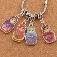 Wholesale Charms Doll Enamel - Enamel Matryoshk Russian Doll Big Hole Beads 60pcs lot 4 Color Fit European Charm Bracelets B1555 14x39.5mm