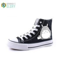 Wholesale japanese laced shoes - Wholesale-Christmas gift, Men women shoes casual canvas Japanese anime totoro print shoes ONE PIECE gumshoe WMCS-831
