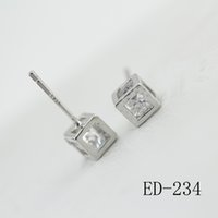 Wholesale Cube Studs - Simple Style Cubic Zirconia Cube Stud Earrings White Silver Plated Fashion Brand CZ Stone Jewelry For Women