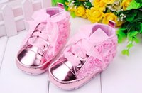 Wholesale Infant Ribbon Shoe Laces - 2017 Latest Toddler Baby Girls Shoes Infant Soft Sole Prewalker SneakersWith Ribbons Flower DHL Free Shipping