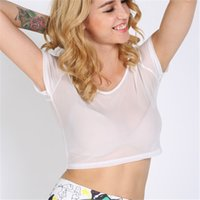 Wholesale Wholesale Sheer T Shirts - Wholesale- Chic Women Crop Tops Sheer Mesh Party Crop T-shirt Short Sleeve Shirts