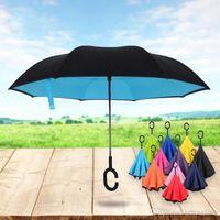 реклама стенда оптовых-Творческий двойной слой обратный зонтик реклама обращает дождь автомобиль подарок зонтики стенд может быть настроен логотип 26 sx