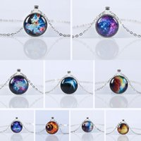 Wholesale Best Brand Necklace - 2016 New Fashion Galaxy Necklaces Nebula Space Glass Cabochon Pendants Brand Jewelry for Women Men Best Friend Ship Gift