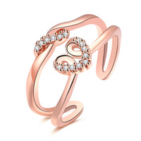 Wholesale Double Womens Ring - INANIS Rose Gold Plated Double Lines Opening Rings Marriage Proposal Weddings Finger Rings Womens Girls Fashion Jewelry