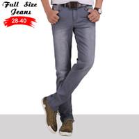 Wholesale Jeans Fashion Men Korea - Wholesale- Spring Korea Retro Extra Long Stretch Jeans Men Straight Smoke Gray Long Casual Pants For Tall Men
